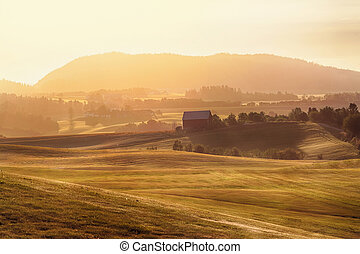 Agricultural area Byneset during sunset