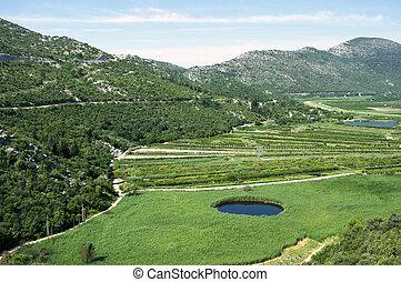 Agricultural area in Neretva river delta in Croatia