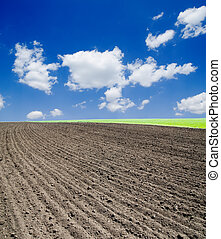 agricultural black field under deep blue sky with clouds