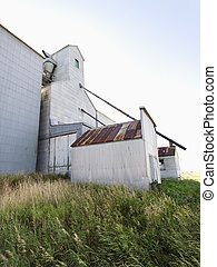 Abandoned agricultural building in rural area.