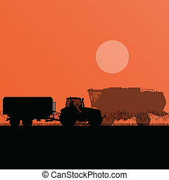 Agricultural combine harvester and tractor in grain field seasonal farming landscape scene illustration background vector