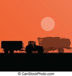 Agricultural combine harvester and tractor in grain field seasonal farming landscape scene illustration background vector