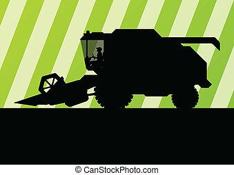 Agricultural combine harvester seasonal farming landscape...