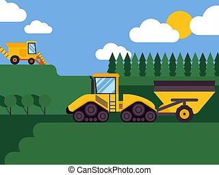 Agricultural combine harvester seasonal farming landscape scene illustration background vector. Fields and forests. Equipment for harvesting. Industrial farm vehicles, combines.