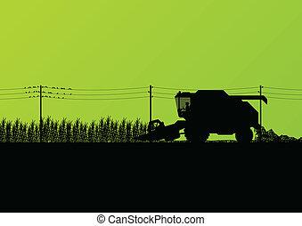 Agricultural combine harvester seasonal farming landscape scene illustration background vector