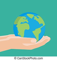 Agricultural concept, earth sphere in the hands