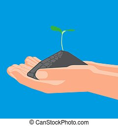 Agricultural concept, sprout with soil in the hands