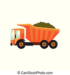Agricultural delivery truck, transportation of grain vector Illustration on a white background