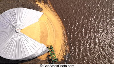 Agricultural Farm Silo Burst Open By Iowa State Flood 2019 -...