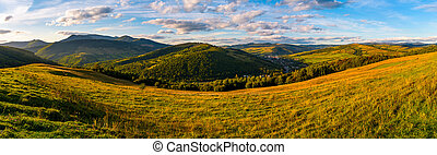 agricultural field in mountainous countryside. old fashioned...