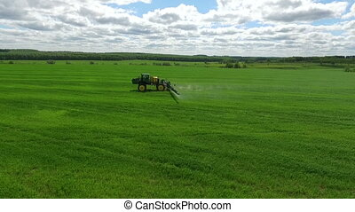 Agricultural field work - aerial view