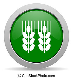 agricultural green glossy web icon