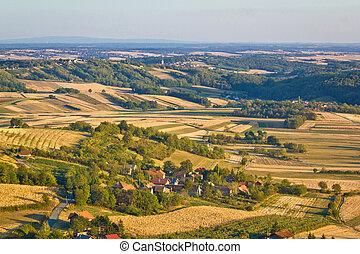 Agricultural green landscape od Prigorje region in Croatia