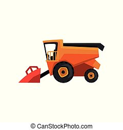 Agricultural harvester, combine farm machinery vector Illustration on a white background