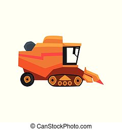 Agricultural harvester, combine farm vehicle vector Illustration on a white background