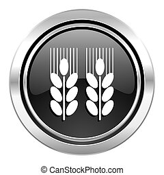 agricultural icon, black chrome button