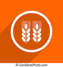 agricultural icon. Orange flat button. Web and mobile app design illustration