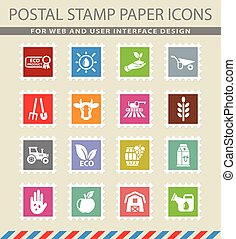 agricultural web icons on the postage stamps