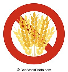 Agricultural icons. No, Ban or Stop signs.  No gluten, Gluten free. Wreath of Wheat corn. Prohibition forbidden red symbols.