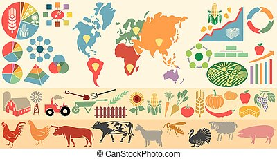 agricultural infographic elements (icons set with farm, windmill, tractor, cow, chicken, pig, sheep, goat, bull, vegetables, fruits, spade, shovel, fence)