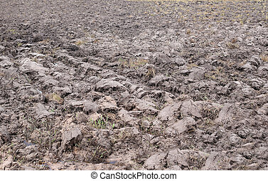 Agricultural land in rural areas and after plowing. - ...