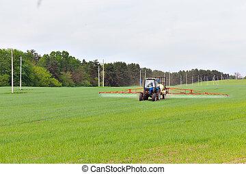 agricultural machine fertilizes a green field in spring