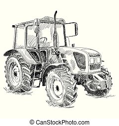 Tractor on big wheels. - Agricultural machinery for field...