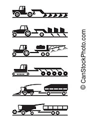 Agricultural machinery icon set - vector illustration