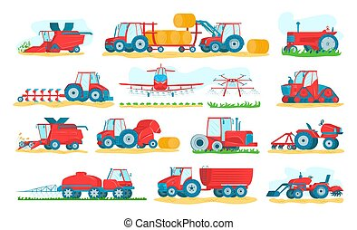 Agricultural machinery set of isolated on white vector illustrations. Agriculture vehicles and farm machines. Tractors, harvesters, combines.