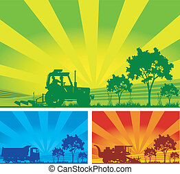 Agricultural machinery, tractor, combine, lorry in field