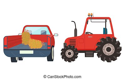 Agricultural Machinery Tractor with Hay Vector - Farming...