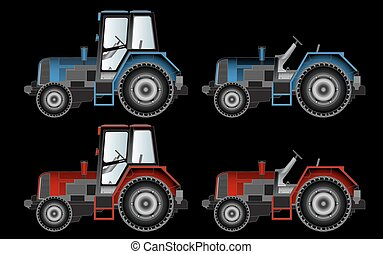 agricultural machinery, tractors, vector