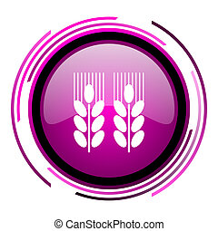 Agricultural pink glossy web icon isolated on white background