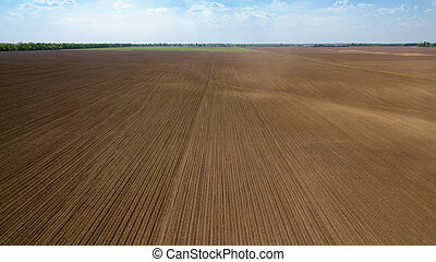 Agricultural ploughed field and soil in spring against the blue sky. Photo from the drone