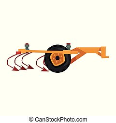 Agricultural ripper machinery, agriculture industrial farm equipment vector Illustration on a white background