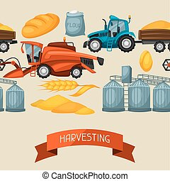 Agricultural seamless pattern with harvesting items. Combine harvester, tractor and granary