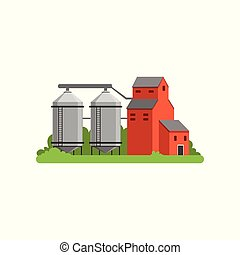 Agricultural silo towers and farm buildings, countryside ...