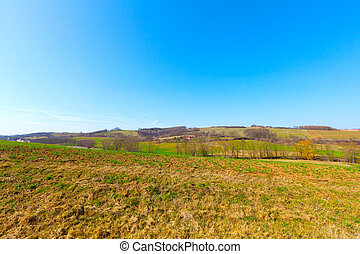agricultural soil of a field in the springtime
