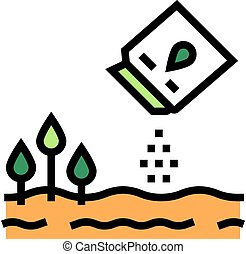 agricultural sowing color icon vector illustration
