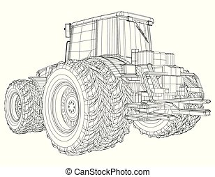 Agricultural tractor. Tracing illustration of 3d. EPS 10 vector format.