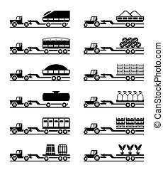 Agricultural tractors with trailers