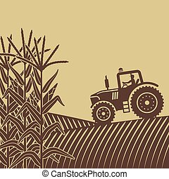agricultural work in corn field illustration