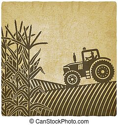 agricultural work in corn field vintage background illustration