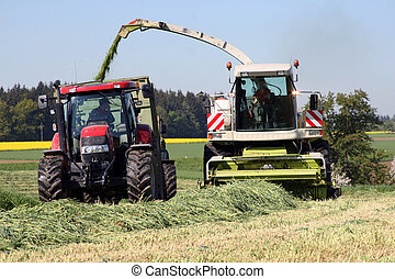 Farmers in the production of grass silage on a field