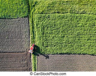 Agriculture. Aerial view of farmland in Spring