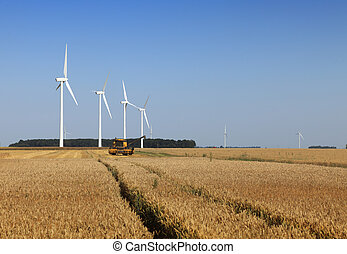 Agriculture and energy - Image of wind turbines and a ...
