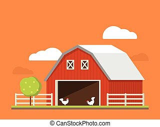 Agriculture and farming. Agribusiness. Rural landscape. Flat illustration.