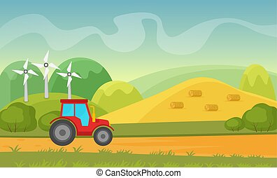Agriculture and Farming agribusiness. Summer autumn rural cartoon vector landscape with wind power plant and tractor.