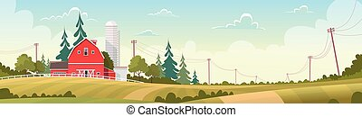Agriculture And Farming, Farmland Countryside Landscape Flat Vector Illustration