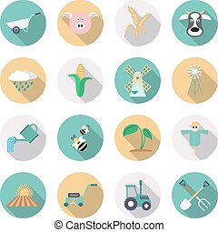Agriculture and farming icons. Flat style with long shadows. Vector illustration